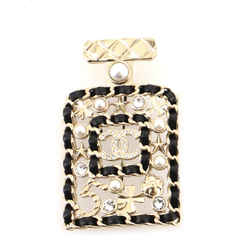 Perfume Bottle Brooch Metal and Leather with Faux Pearls and Crystals