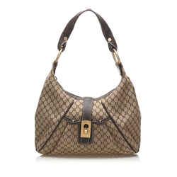 Tan Celine Macadam Canvas Shoulder Bag