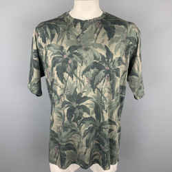 DRIES VAN NOTEN Size XL Olive Print Cotton Crew-Neck T-shirt