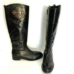 Tory Burch Black Calf Leather Knee High Logo Boots Size 7 37