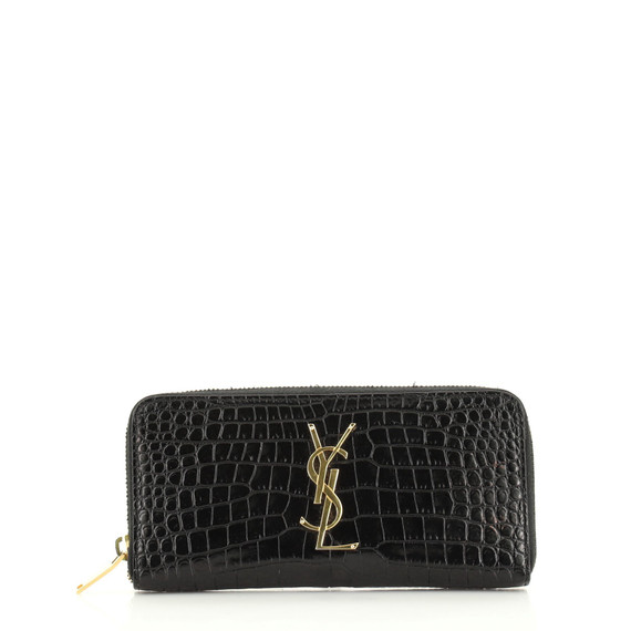 Classic Monogram Zip Around Wallet Crocodile Embossed Leather