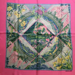 Hermes Giverny Pink Square Silk Scarf