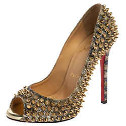 Christian Louboutin Gold Glitter Spike Peep Toe Pumps Size 36