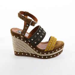 Lanvin Brown Multicolor Suede Studded Espadrille Wedge Sandals SZ 37