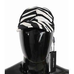 Dolce & Gabbana Black White Zebra Print Cotton Baseball Women's Cap