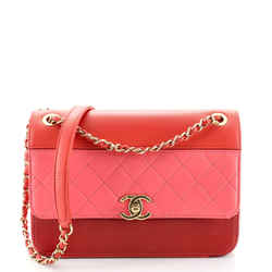 Tricolor Single Flap Bag Quilted Lambskin