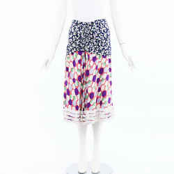 Louis Vuitton Floral Print Silk Ruffled Skirt SZ 36