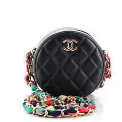 Ribbon Round Clutch With Chain Quilted Lambskin