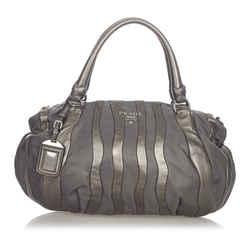 Vintage Authentic Prada Gray Nylon Fabric Tessuto Nappa Waves Handbag Italy