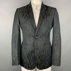 ROBERTO CAVALLI Size 44 Black & Gold Jacquard Wool Blend Sport Coat