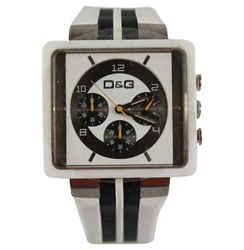 DOLCE&GABBANA Dolce & Gabbana Red Black Stripe Leather Wrist Chrono Wrist Watch