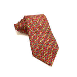 HERMES Red/Multicolor Intertwined Horse-Shoes & Belt Straps Print Silk Twill Tie