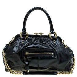 Marc Jacobs Black Patent Leather Stam Satchel