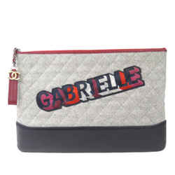 Vintage Authentic Chanel Gray  with Multi Wool Fabric Gabrielle Clutch Italy