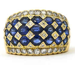 Women's Diamond Sapphire Dome Band In 18k Yellow Gold
