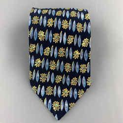 Brioni Navy Blue & Yellow Flower Print Silk Tie
