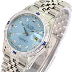 Rolex Mens Datejust Steel Ice Blue Diamond Dial Diamond Sapphire Bezel 36mm