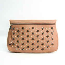 Jimmy Choo ZENA Leather Clutch Bag Pink Beige BF516970