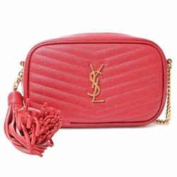Auth Yves Saint Laurent Leather Fringe Chain Shoulder Bag Brown