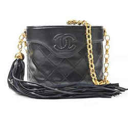 Auth Chanel Chanel Lambskin Fringe Chain Shoulder Bag Black Leather
