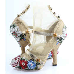 Gold Dolce & Gabbana Mesh Floral Embroidered with Mesh Sock Heels Pumps