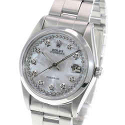 Rolex OysterDate Precision Stainless Steel White MOP Diamond Dial 34mm Watch