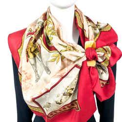 Petite Venerie Hermes Scarf by Charles Jean Hallo 90 cm Silk Twill - Red | Vintage