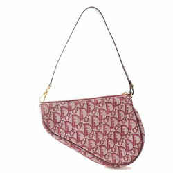 Auth Christian Dior Trotter Canvas Saddle Pouch Red