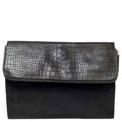 Giorgio Armani Dark Green Crocodile Embossed Leather Fold Over Document Case
