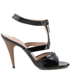 Saint Laurent Zip Detail T Strap Sandals Black Sz US 7 Authenticity Guaranteed
