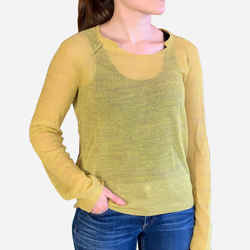 Yellow Light Weight Sheer Knit Long Sleeve Sweater