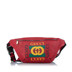 Vintage Authentic Gucci Red Calf Leather Logo Belt Bag ITALY w/ Dust Bag