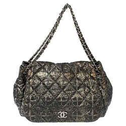 Chanel Metallic Grey Abstract Printed Nylon Accordion Flap Bag