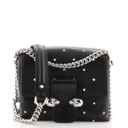Twin Skull Flap Bag Studded Leather Small
