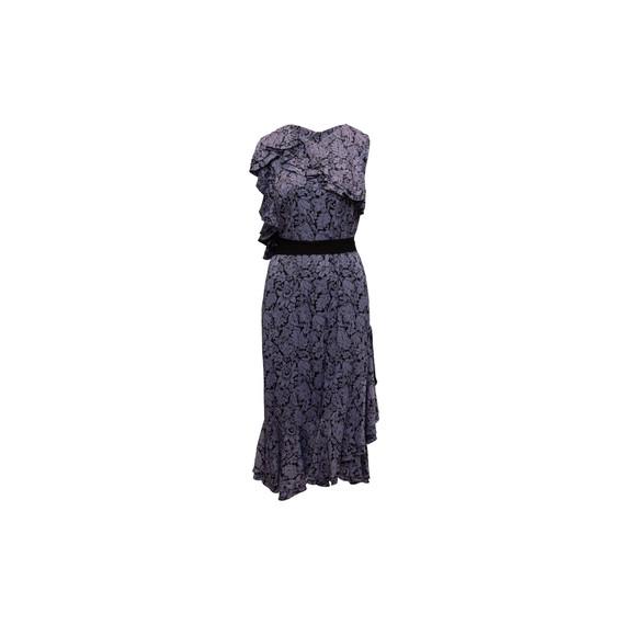 Purple & Black Erdem Kaylee Floral Patterned Dress