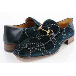 Gucci Velvet GG Horsebit Mens Quetin Loafers