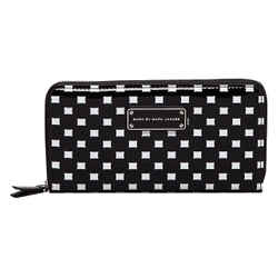 Marc Jacobs Techno Block Continental Zippy Wallet $158 New Black Check