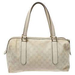 Gucci Ivory GG Canvas and Leather Boston Bag
