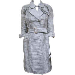 Burberry Gray Ruffle Silk Pleated Belted Trench Jacket Coat 3/4 Sleeves Size It 38 Us 4