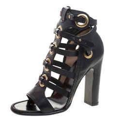 Salvatore Ferragamo Black Leather Shyla Gladiator Sandals Size 38.5