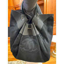 Chanel Stretch Spirit Extra Large Cabas Hobo Suede Chain Black 11ca61