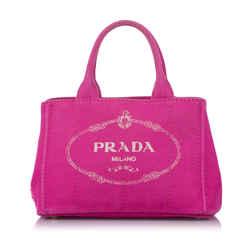 Vintage Authentic Prada Pink Canvas Fabric Canapa Logo Satchel INDIA