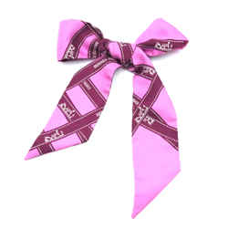 Hermes Pink Twilly Logo Ribbon Silk Scarf/Wrap