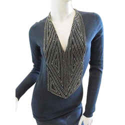 Auth Naeem Khan Hand Beaded Cashmere Sweater, Size P, Retail $2530