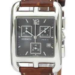 Polished HERMES Cape Cod Chronograph Steel Quartz Mens Watch CC1.910 BF523962