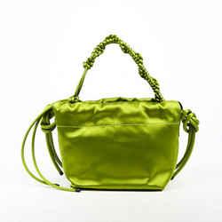 Dries Van Noten Green Satin Knot Handle Bag