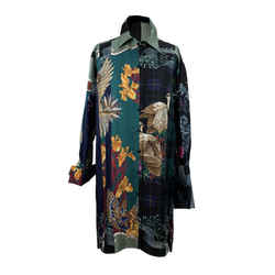 Salvatore Ferragamo Green Patchwork Silk Long Line Shirt Size 44 IT