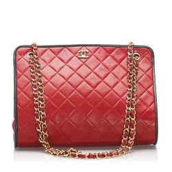 Vintage Authentic Chanel Red Matelasse Lambskin Leather Shoulder Bag France
