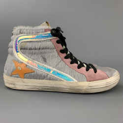 GOLDEN GOOSE Size 7.5 Grey & Pink Leather Pony Hair Slide Sneakers
