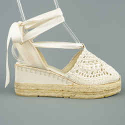 Ralph Lauren Size 10 Off White Knit Ankle Strap Espadrille Wedges